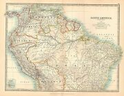 1911 Large Victorian Map South America Northern Sheet Brazil Peru Colombia Etc