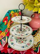 Vintage 1950s Aynsley English Bone China 3-tiered Plate Stand - Pembroke