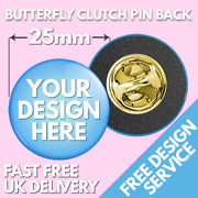25mm Custom Clutch Badges Andbull Personalised Printed Badge Andbull Butterfly Promotional