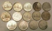 Lot Of 14 Italian 500 Lire Silver Coins Italy Lira 1958 1959 And 160 Dates Nice