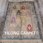 Yilong 4and039x6and039 Handknotted Silk Carpet Garden Scene Kid Friendly Area Rug Z46a