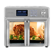 Extra Large 26 Qt. Stainless Steel Air Fryer Kitchen Countertop Oven W/ Trays
