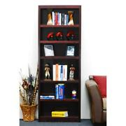 Concepts In Wood Single Wide Bookcase 6 Shelves Cherry Finish
