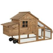 70 Wooden Chicken Hen Cage Wooden House Removable Tray 2 Doors With Wheels