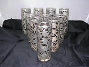 Coasters Glasses Soft Drink In Sterling Silver 925 With Floral Art Set Of 10