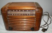 Vintage Admiral Am Wood Case Tube Electric Radio Powers Up Works