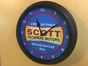 Scott Mcculloch Outboard Boat Motor Garage Man Cave Advertising Clock Sign