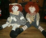 Raggedy Ann And Andy Dolls Large 24 Rustic Primitive Country Farmhouse Toys