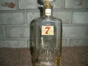 Vintage Seagrams Seven Embossed Crown Whiskey Glass Decanter Bottle Bourbon Guc