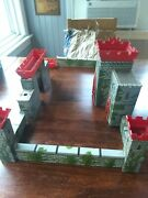 Marx Knights And Vikings Metal And Plastic Castle Wall Parts Damaged Incomplete