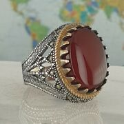 Solide 925 Sterling Silber Rot Achat And Marcasite Edelstein Mandaumlnner Ring Handgefe