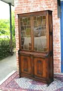 English Antique Oak Leaded Glass Doors Bookcase / Display Cabinet