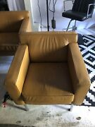 Pair Of Dwr Theatre Armchairs In Custom Leather - Light Use
