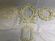 4 Lot Picture Frames Vintage Chic Shabby Cream Open Scatter Frames 6 To 11.5 In.