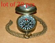 Vintage Brass 1 Compass Brown Antique With Brass Chain Collectible Good Gift