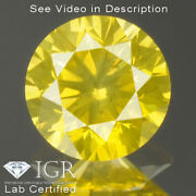 0.37 Cts Certified Round Cut Si2 Vivid Canary Yellow Loose Natural Diamond 25798