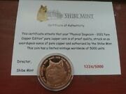Physical Dogecoin Doge Pure Copper Coin Round 1oz Shibe Mint 2021 W/ Coa 1224