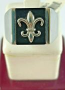 Menand039s Stainless Steel And Onyx Fleur Delis Ring Size 12 - 10.2 Grams