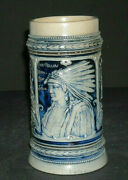 Embossed Blue And Grey Flemish Ware Stein Stoneware American Indian Gerz 27