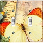 Metal Light Switch Cover Wall Plate Yellow Butterfly Scripture Damask But034
