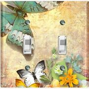 Metal Light Switch Cover Wall Plate Unique Chic Floral Butterfly Damask But035