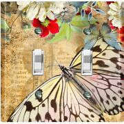 Metal Light Switch Cover Wall Plate Colorful Floral Butterfly Damask But038