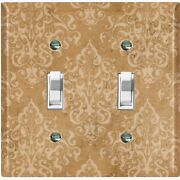 Metal Light Switch Cover Wall Plate For Kitchen Victorian Brown Damask Dam101