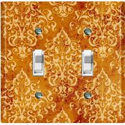 Metal Light Switch Cover Wall Plate For Kitchen Victorian Orange Damask Dam102