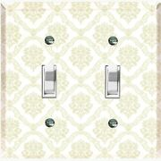 Metal Light Switch Cover Wall Plate Victorian Beige Damask White Dam104