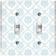Metal Light Switch Cover Wall Plate Victorian Blue Damask White Dam105