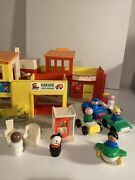 Fisher Price 1973 Little People Main Street Village Town Playset Cars People