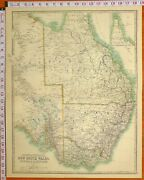 1897 Large Antique Map South Australia New South Wales Victoria Queensland