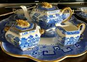 Antique /spode Blue Willow Auld Lang Syne Teaset W/ Tray 6 Cupsandsaucers