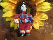 Native Amer. Zuni Beaded Fancy Shawl Dancer Collectible Doll 3.5 Signed