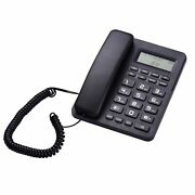 Black Corded Telephone Wired Desk Landline Phone With Lcd Display Caller Id/ca C
