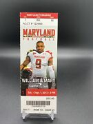 Stefon Diggs Debut Ticket College 2012 9/1 Maryland Terrapins 1st Game Ncaa