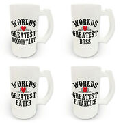 16oz Worlds Greatest Title Frosted Glass Beer Stein