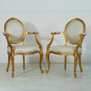 Pair Of Mahogany Louis Carved Cameo Back Arm Chairs Gold Leaf Damask Fabric