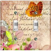 Metal Light Switch Cover Wall Plate For Room Floral Butterfly Damask Tan But039