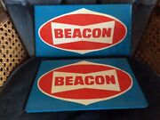 Vintage Beacon Gas Station Signs, Two Of Them In Good Shape, Enamel, 60s