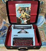 Vintage Blue Facit Tp2 Portable Typewriter With Case And Instructions - Works Good