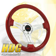 Performance 14inch 350mm 6 Holes Polished Spokes Heavy Duty Red Steering Wheel