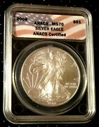 2009 American Silver Eagle Anacs Ms70 Flag Frame Perfection Great Gifta256