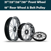 21/23/26/30and039and039 Front Wheel 18and039and039 Rear Wheel Rim Hub Belt Pulley Fit For Harley 08+