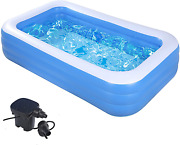 """Swimming Pools With Pump-inflatable Kiddie Pool-122""""x70""""x 27""""full-sized Pools Ab"""