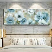 Blue Flowers Oil Paintings Print On Canvas Abstract Watercolor Flowers Posters