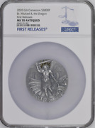 Apocalypse St Michael And The Dragon 2020 Gilt Cameroon 3000f Silver Coin Ms70 Fr