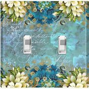 Metal Light Switch Cover Wall Plate For Room Elegant Floral Damask Teal Flw083