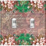 Metal Light Switch Cover Wall Plate For Room Elegant Floral Mauve Damask Flw084