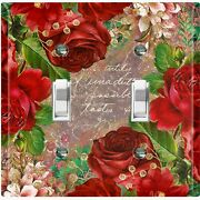 Metal Light Switch Cover Wall Plate For Room Elegant Red Floral Damask Flw085